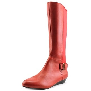 Array Peace Women W Round Toe Leather Red Knee High Boot