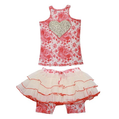 Ooh! La La! Couture Little Girls Coral Champagne Toile Skirt Outfit