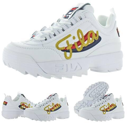Fila Women's Disruptor II Signature Leather EVA Midtop Retro 90s Sneaker Shoes