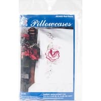 "Stamped Perle Edge Pillowcases 30""X20"" 2/Pkg-Red Rose"
