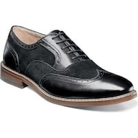 Stacy Adams Men's Ansley Wingtip Oxford 25130 Black Antiqued Leather/Suede