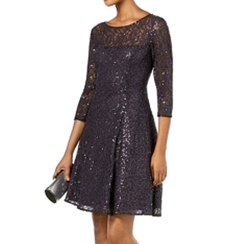SLNY Gray Womens Size 16 Sequin Lace Fit N Flare A-Line Dress