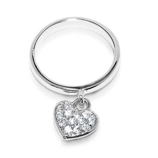 Link to Delicate 925 Sterling Silver Pave Dangle Heart Charm Ring 1MM Band Similar Items in Rings