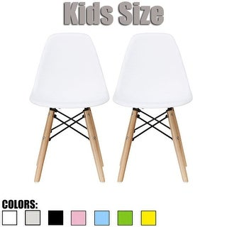 2xhome - set of 2 White Plastic Wood Chairs Natural Wood Kids Children