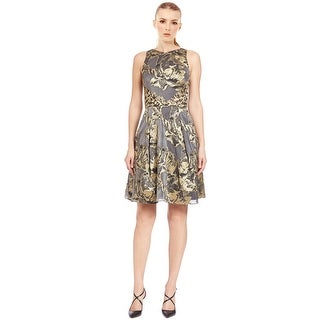 Theia Lace Back Floral Sleeveless Flared Cocktail Evening Dress