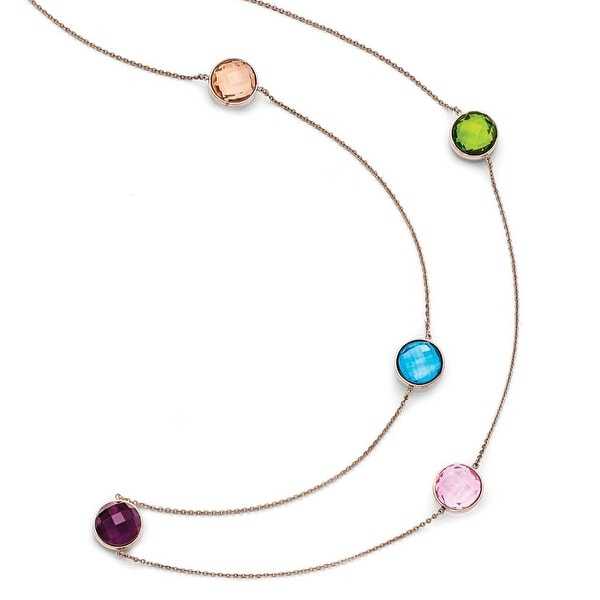 Chisel Stainless Steel Polished Rose IP-Plated Glass Necklace (1 mm) - 35.5 in