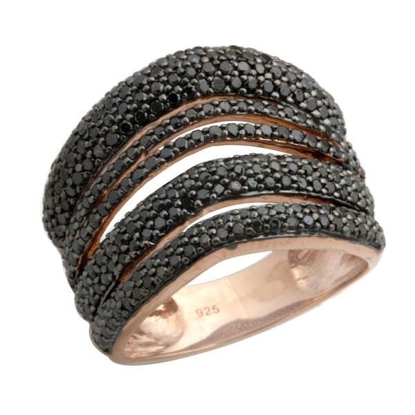 Brand New 1.57 Carat Natural Round Black Diamond Gigantic Ring