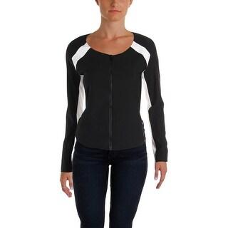 Aqua Womens Coat Colorblock Long Sleeves - M