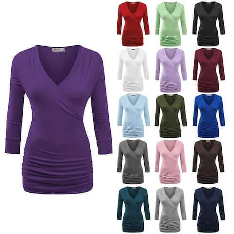 Women's 3/4 Sleeve Cross Front Wrapped V Neck Top