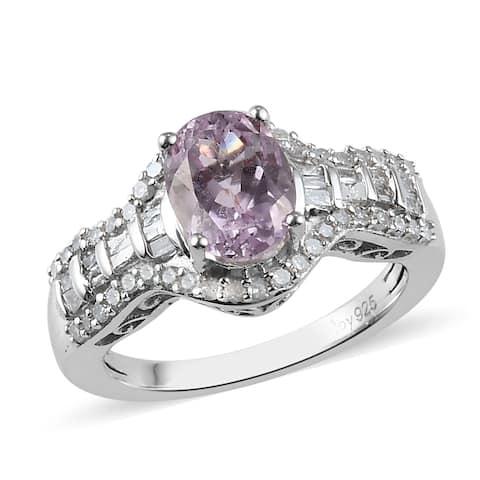 Shop LC Platinum Over 925 Silver Kunzite White Diamond Ring Ct 2.1