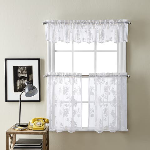 Sibella Lace Kitchen Curtain Valance and Tier Pair Curtain Collection