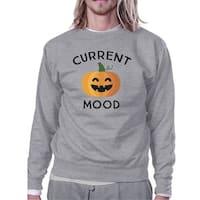 Pumpkin Current Mood Grey Round Neck Sweat Shirt For Halloween