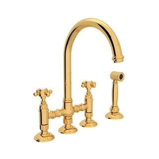 Rohl A1461XMWS-2 Country Kitchen High-Arc Bridge Faucet with Side Spray