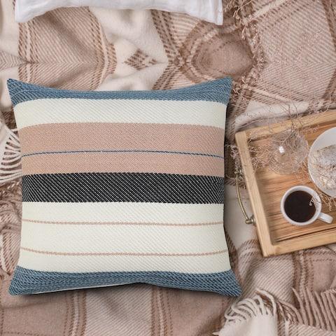 Multicolored Mid-Century Stripe Throw Pillow