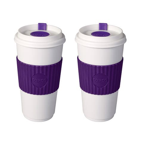2 Pack Copco Original To-Go-Cup With Non Slip Textured Sleeve & Leakproof Lid - BPA Free Plastic 16 Oz - Purple White
