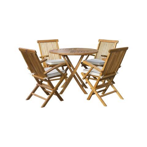 "Seven Seas Teak 5 Piece Teak Wood Long Beach 47"" Round Folding Table with 4 Folding Arm Chairs"