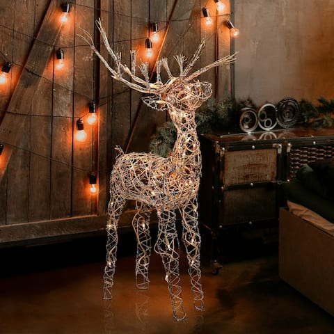 Alpine Corporation Rattan Reindeer with Halogen Lights, 35 Inches Tall - Brown