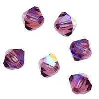 Preciosa Czech Crystal 4mm Bicone Beads 'Amethyst AB' (50)