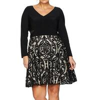 Xscape Black Women's Size 16W Plus Texture-Print A-Line Dress