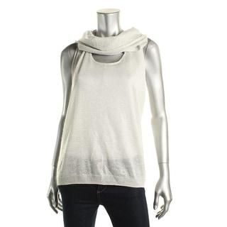 Rachel Rachel Roy Womens Metallic Cowl Neck Pullover Top - L