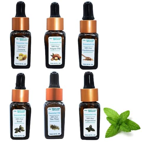 Beaver Brook Botanical Set Essential Oil Bottle Dropper - 6 Pack - Blue - 12ml