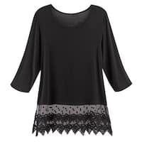 Kaktus Sportswear Women's Lace Trimmed Tunic Top - 3/4 Sleeve, Sheer Lace Hem