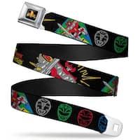 Power Rangers Logo Full Color Power Rangers Outline Megazord Black Multi Seatbelt Belt