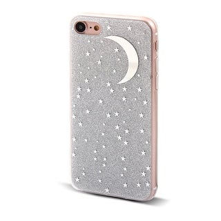 Shiny Bling Moon Stars Pattern Back Protective Phone Hard Case Gray for iPhone 7