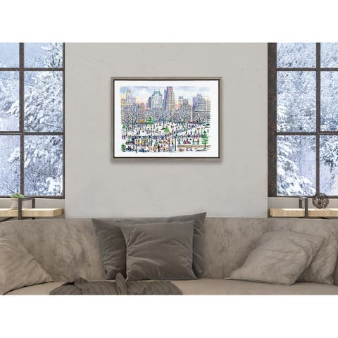 Kate and Laurel Sylvie Central Park Framed Canvas by Michael Storrings