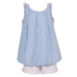 Bonnie Jean Little Girls Blue Stripe Trim Accented 2 Pc Shorts Outfit