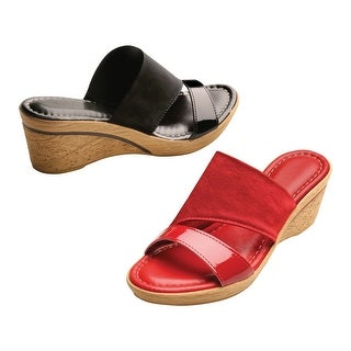Easy Street Women's Cork Textured Wedge Sandals - Medium Width (More options available)