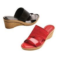 Easy Street Women's Cork Textured Wedge Sandals - Wide Width