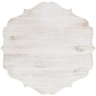 "Cake Stand Large Wood W/Galvinized Edge 11.8""X11.8""X9.4""H-White"