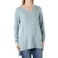 STYLE & COMPANY Womens Green Long Sleeve V Neck Hi-Lo Sweater  Size: S