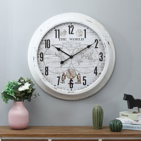 World Iron and Glass White Wall Clock - 27.6in Dia.