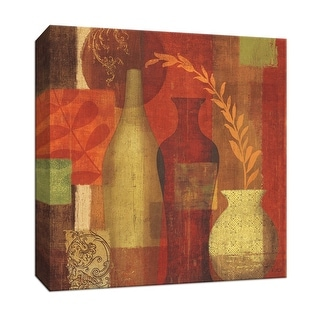 """PTM Images 9-151954  PTM Canvas Collection 12"""" x 12"""" - """"Mosaic Vases I"""" Giclee Leaves Art Print on Canvas"""