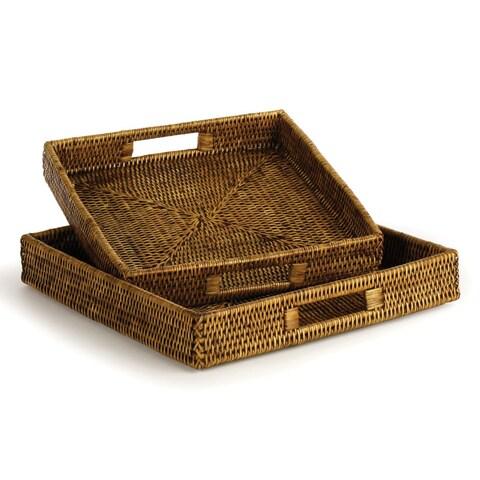 Napa Home and Garden TN215 Burma Two Piece Rattan Rectangular Tray Set - Brown
