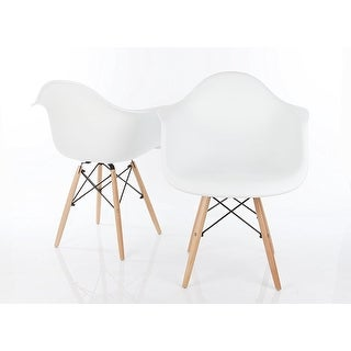 VECELO Eames Style Chair Natural Wood Legs Eiffel Dining Chair, Set of 2 Armchair