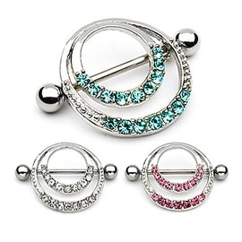 Surgical Steel Romantic Nipple Shield with Double Hoops and Pave Gem (Sold Individually)