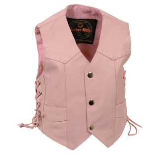 Girls Pink Leather Basic Side Lace Four Snap Vest