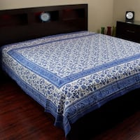 Handmade 100% Cotton Rajasthan Block Print Tapestry Tablecloth Coverlet Throw Beach Sheet Dorm Decor Twin & Full