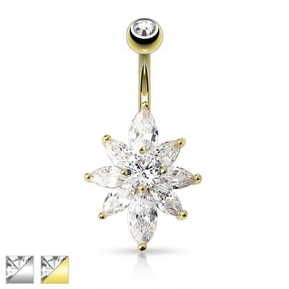 Marquise CZ Petal Flower Navel Ring