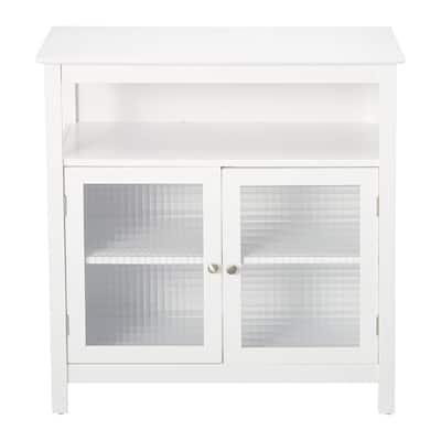 Pilaster Designs Ezra White Wood 2 Door Accent Kitchen Cabinet