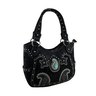 Paisley Motif Metallic Trim Studded Concealed Carry Handbag