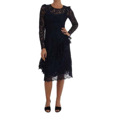 Dolce & Gabbana Blue Taormina Floral Lace Sheath Women's Dress - it40-s