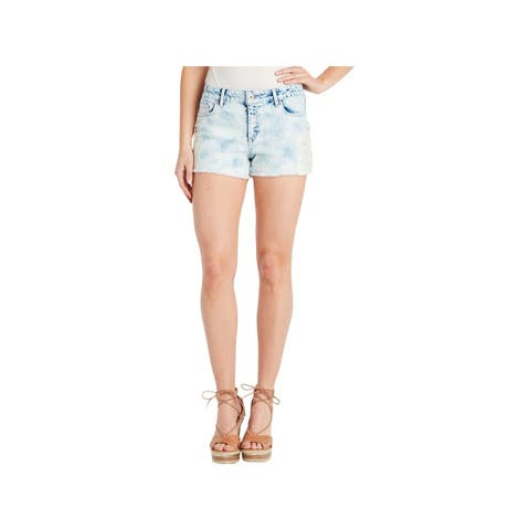 Jessica Simpson Womens Cherish Denim Shorts Frayed Hem Mid-Rise