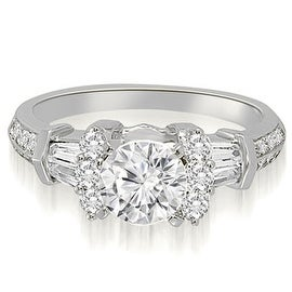 1.60 cttw. 14K White Gold Round And Baguette Cut Diamond Engagement Ring