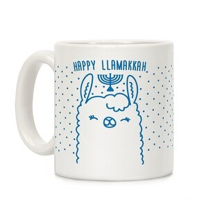 Happy Llamakkah White 11 Ounce Ceramic Coffee Mug by LookHUMAN