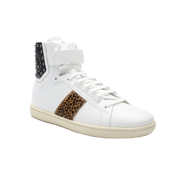 Saint Laurent Men's Leather Studded Cheetah High Top Sneaker Shoes White Black