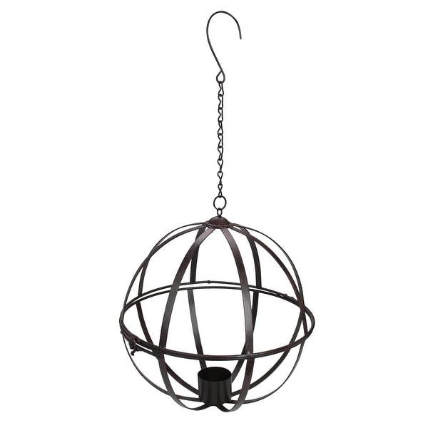 "13"" Black Distressed Gazing Ball Hanging Display Cage - N/A"